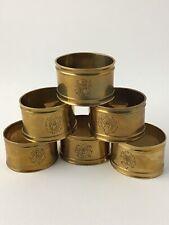Vintage Brass Napkin Rings Holders Set of 6 Oval Stamped Design