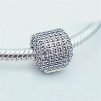 Authentic 100% 925 Sterling Silver Crystal Pavé Barrel Clip Clear CZ Charm