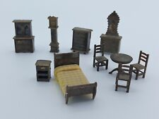 Antique Style Dollhouse Furniture Accessories Lot Of 10 Bed Clock Table Hutch