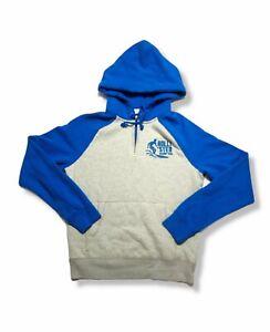 Mens Hollister Quarter Zip Hoodie Size Large Gray Blue Long Sleeve Sweatshirt