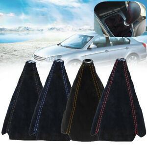 1x Universal Car Suede Leather Manual Gear Stick Shift Knob Cover Boot Gaiter P