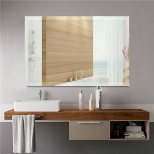 2FT Large Bathroom Bedroom Wall Mirror Rectangle Frameless Home Mirror W/ Fixing