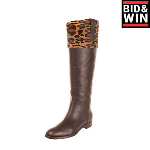 RRP €975 ALBERTA FERRETTI Leather Knee High Boots EU 37 UK 4 US 7 Made in Italy
