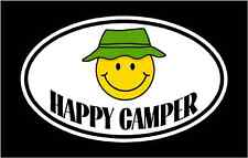 male HAPPY CAMPER vinyl decal sticker. camping camp