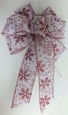 """4 Large 10"""" Hand Made Snowflake White Red Christmas Bows Outdoor Wreath Ribbon"""