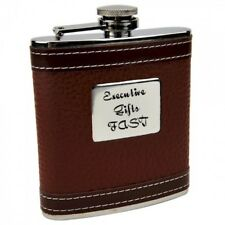 Personalized Faux Leather 6 oz Hip Flask with Free Engraving