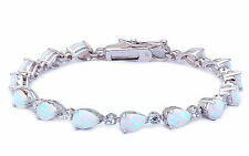 Pear Cut White Opal & Cz .925 Sterling Silver Bracelet