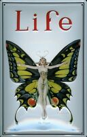 Life Schmetterling Blechschild Schild 3D geprägt gewölbt Tin Sign 20 x 30 cm