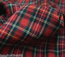 "RED SMALL PLAID TARTAN Cotton Woven FABRIC 44""W DRAPE TABLECLOTH SKIRT QUILT"