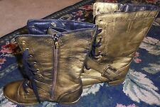 Max Signature womens size 8 combat biker boots distressed gold buckles womens
