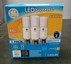 GE LED Bright Stik Bulbs Soft white 800 Lumen Standard Base Long-Lasting ~3 Pack