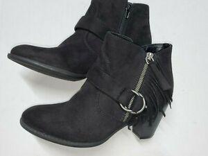 Indigo Rd. Juliet Fringe Ankle Boots Women's Size 9 M  Black