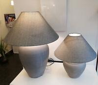 Hockerleuchte Keramik Textil Stoff Grau Keramik-Tischleuchte mit Textilschirm