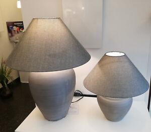 Table Luminaire Ceramic Textile Fabric Grey Keramik-Tischleuchte With Shade