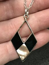 New Zealand Abalone Black Onyx Diamond Shape Silver Pendant D-1775