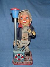 Vintage 1950s Drinking Captain Battery Operated Tin Toy Belly Lights Up Red