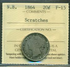 Canada New Brunswick Silver 20 Cent 1864  Certified ICCS F-15 Scratches
