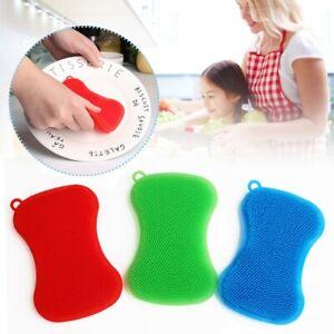 UK Silicone Dish Washing Brush Pan Sponge Pot Scrubber Kitchen Cleaning Pad Tool