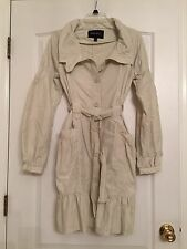 Nine West Woman's Unlined Trench Coat with Ruffle Hem - Bone Color - Large NWOT