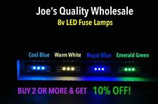 (100)BLUE-WHITE LEDs 8V FUSE LAMPS-VINTAGE RECEIVER/QR/QRX/5000X/BA/METER DIAL