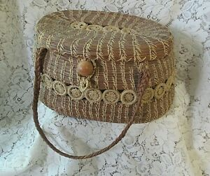 Antique-Victorian Pine Needle, Notions/Sewing Basket, Lined, Braid Handles, Lid