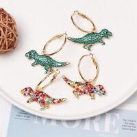 Fashion Crystal Earrings Dinosaurs Pendant Dangle Drop Ear Hook Pierced Jewelry