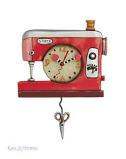 "Sweet Pink ""Double Stitch"" Sewing Machine Designer Wall Clock by Allen Designs"