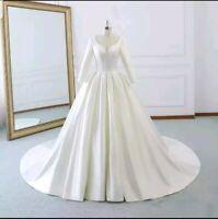 UK Royal White ivory Bridal Satin Long Sleeves A Line Wedding Dresses Size 6-20