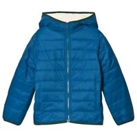 $119 Lands' End Sherpa Quilted puffer Jacket Coat L 7 BLUE little boys PRIMALOFT