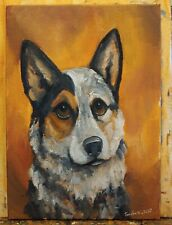 OriginAl Oil Painting~Australian Cattle Dog~30 minute work~Impressionism~Art