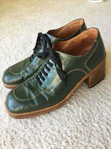 Vintage 70's Men's PLATFORM SHOES Disco Italy 9.5 D Green  Leather Glam Rock