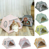 Dog House Pet Bed Tent Foldable Cat Kennel Indoor Portable Travel Puppy Mat patt