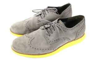 mens charcoal gray COLE HAAN lunargrand wing tip suede oxford shoes 13 M