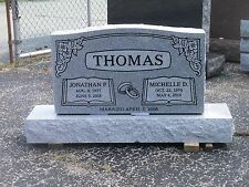 Cemetery headstone monument 100% granite, gray, engraving included