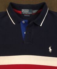 Mens Polo RALPH LAUREN Red White Blue Custom Fit Pony Polo Shirt Large