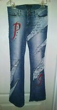PACO JUNIOR JEANS WITH ATTITUDE SIZE 3 DESTROYED EMBELLISHED 30X32 HIP HOP URBAN