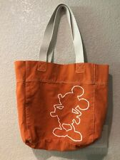 Disney Orange Canvas Tote with Mickey Mouse Outline Embroidery
