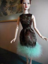 """22"""" American Model Doll Silk Brocade Feather Trimmed Cocktail Dress and Hair Bow"""