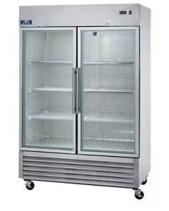 Arctic Air AGR49 49cf 2-Door Commercial Stainless Glass-Door Cooler Refrigerator