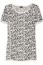 NWT $345 DKNY Stretch Silk Cream w/ Black White Sequin Chiffon Top Shirt Large L