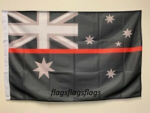 Australia Fire Fighters Thin Red Line Flag 90 by 150cms EMS *Special Order*