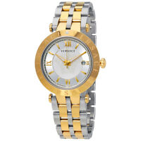 Versace V-Race Silver Dial Mens Two Tone Watch VCL110017
