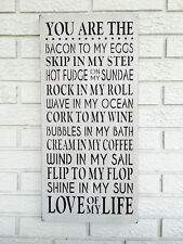 """Large Rustic Wood Sign - """"You Are..."""" Bacon To My Eggs, Valentine's Day Gift"""
