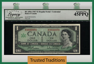 TT PK BC-45bi 1967 CANADA $1 DOLLAR QUEEN ELIZABETH II CENTENNIAL LCG 45 PPQ