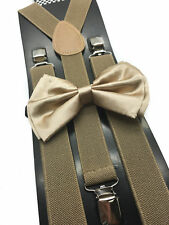 New Champagne Gold Bowtie and Tan Suspender set Tuxedo Formal Men's USA SELLER