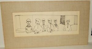 GATSBY BOARD ROOM MEETING VINTAGE DRAWING PRINT UNSIGNED
