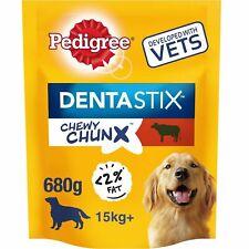 10 x 68g Pedigree Dentastix Chewy Chunx Maxi Medium Large Dog Treats Beef