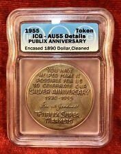 1890 Morgan Silver Dollar ~ 1955 Publix 25th Anniversary Encased Coin ~ Icg Au55
