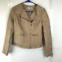 Charlotte Russe Womens Faux Leather Jacket Beige Asymmetric Zip Lined Pockets XS