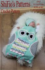 CROCHET PATTERN for OWL BABY SLEEPING BAG 3 SIZES #327 NOT CLOTHES